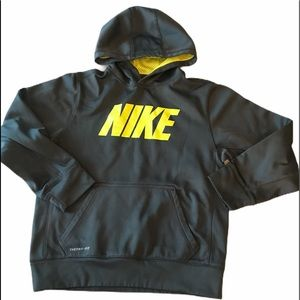 Nike Youth Therma Fit Hoodie Charcoal Grey large